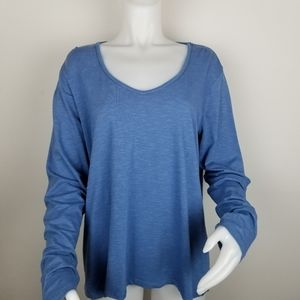 Horny Toad XL Blue V-Neck Long Sleeve Shirt